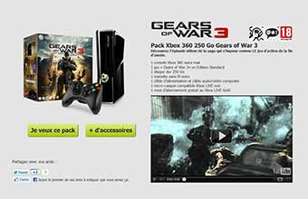 "pack Xbox 360 250 Go ""Gears of War 3"""