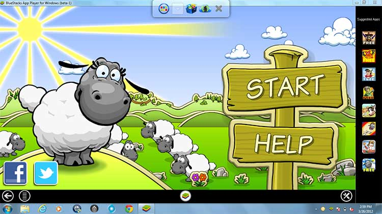 Clouds + Sheep fullscreen on BlueStacks