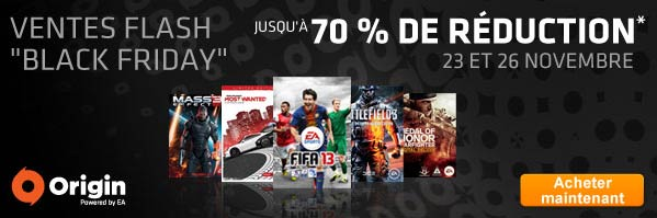 "Electronic Arts lance les ventes flash "" Black Friday "" sur Origin"