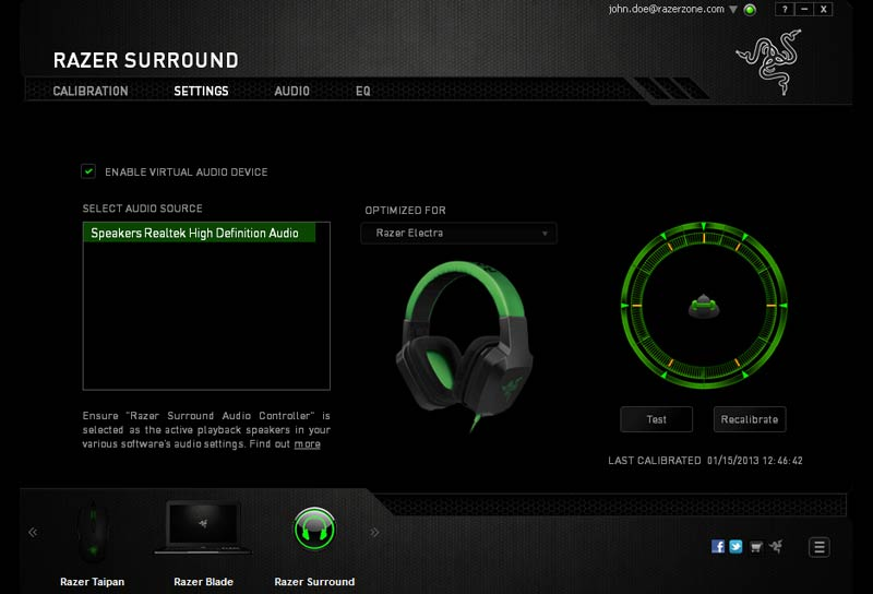 Razer Surround screen