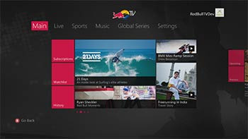 Red Bull TV sur Xbox 360