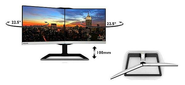 Moniteur Philips 19DP6QJNS Deux-en-Un (angles)