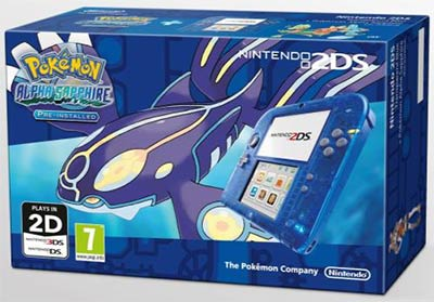 Packs Nintendo 2DS bleu transparent + Pokémon Saphir Alpha
