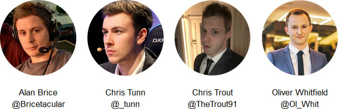 Alan Brice @Bricetacular - Chris Tunn @_tunn - Chris Trout @TheTrout91 - Oliver Whitfield @Ol_Whit