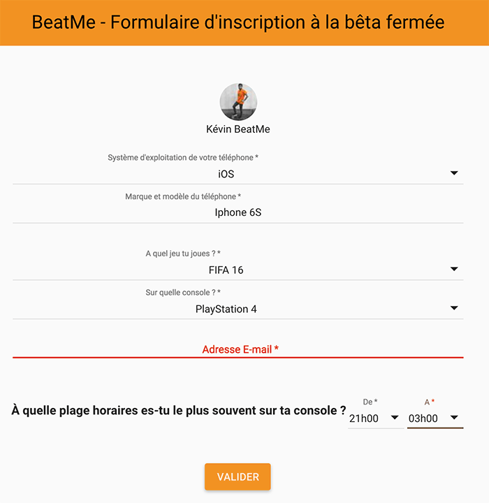 Formulaire d'inscription Beta BeatMe