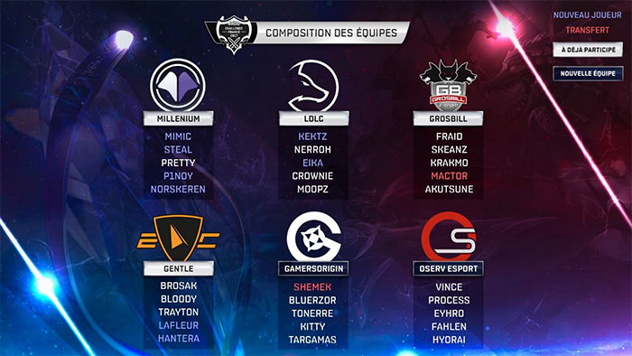 Challenge France League of Legends : composition des équipes