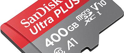 Une carte microSD de 400 Go