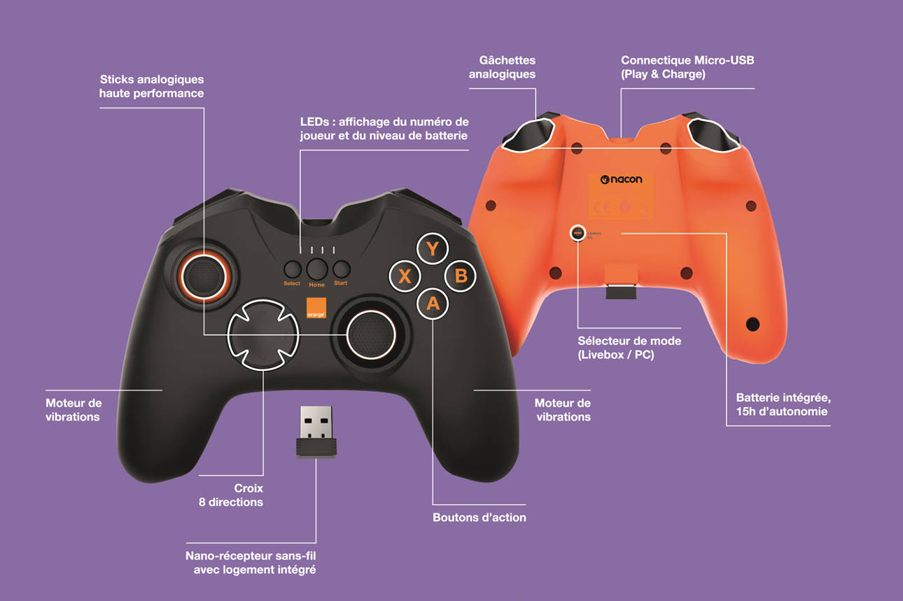 Manette Orange pour PC et Livebox