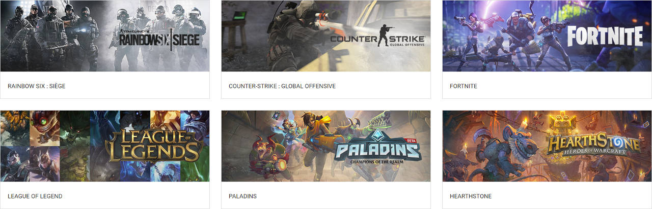 Rainbow 6 Siege, Counter-Strike : Global Offensive, League of Legends, Paladins, Fortnite et HearthStone