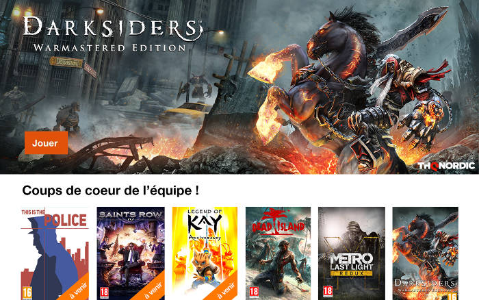 Les jeux Thq Nordic en streaming sur la TV d'Orange
